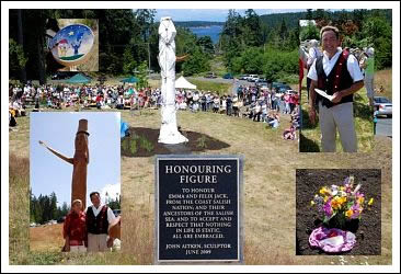 Collage showing the unveiling of the Honouring Figure