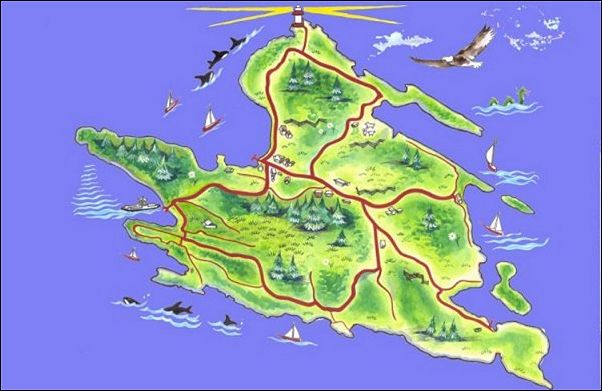 Map of Mayne Island painted by Cedar Christie