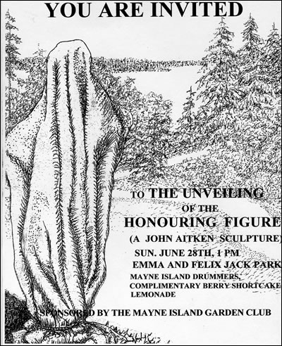 Unveiling of the Honouring Figure on Mayne Island, BC